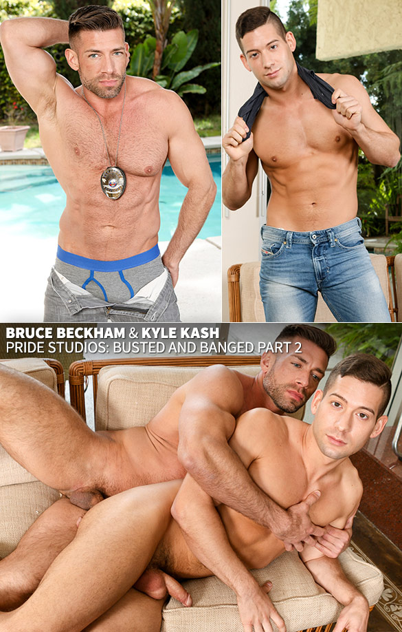 "Pride Studios: Bruce Beckham fucks Kyle Kash in ""Busted and Banged, Part 2"""