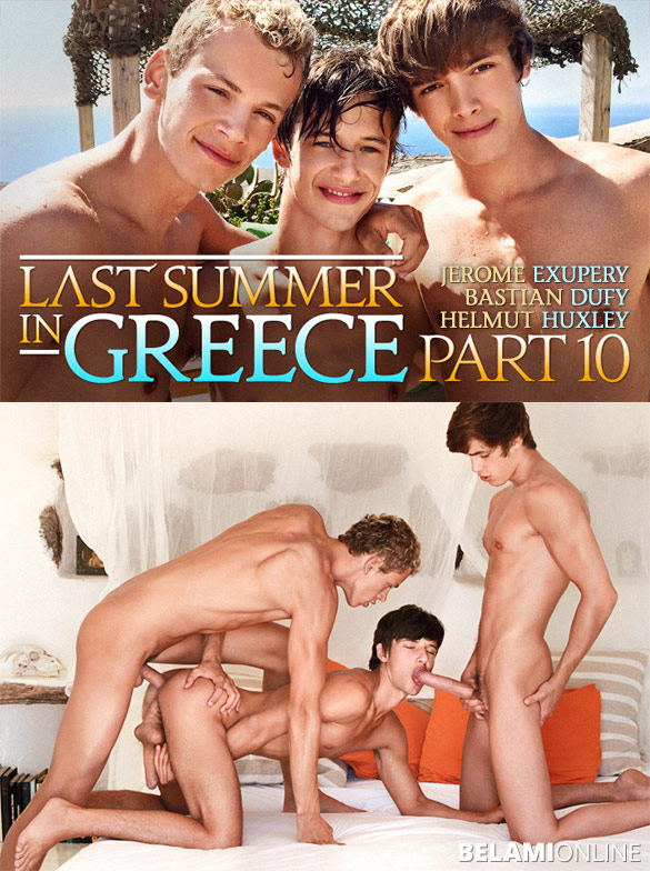 "BelAmi: Jerome Exupery and Helmut Huxley fuck Bastian Dufy bareback in ""Last Summer in Greece, Part 10"""