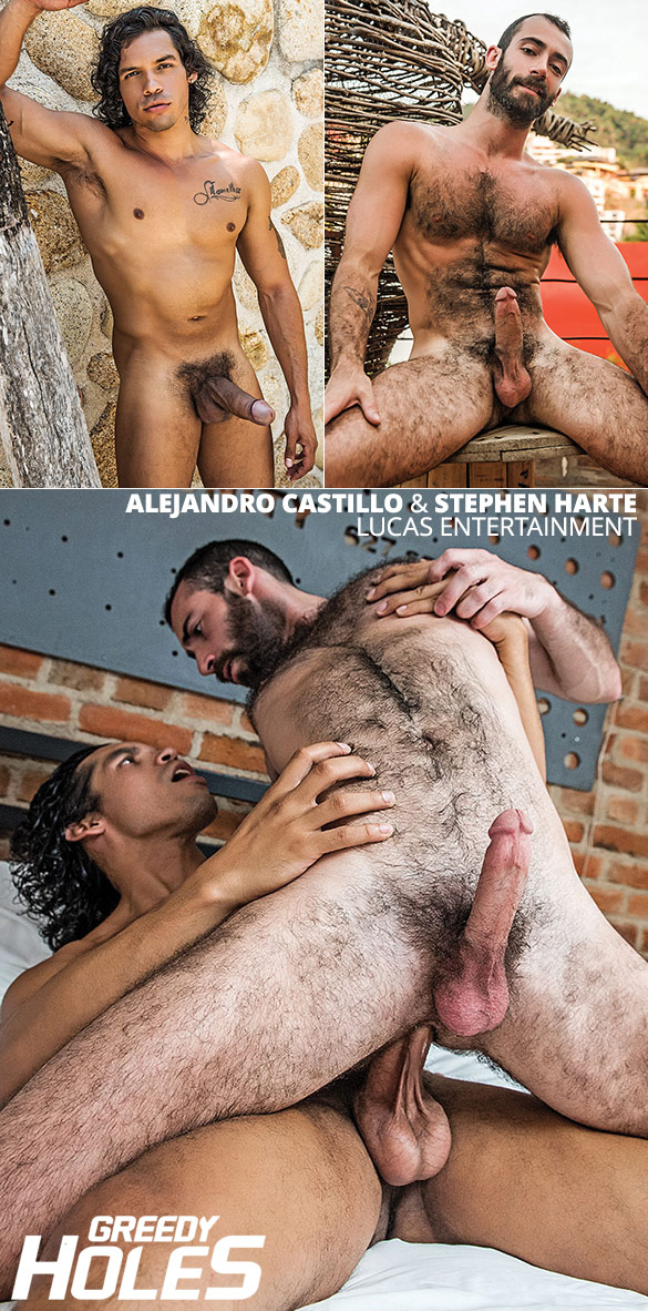 "Lucas Entertainment: Alejandro Castillo pounds Stephen Harte's hairy ass raw in ""Greedy Holes"""