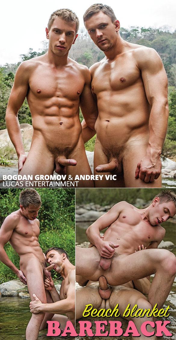 "Lucas Entertainment: Bogdan Gromov rides Andrey Vic big dick in ""Beach Blanket Bareback"""