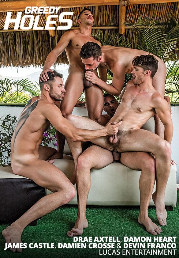 "Lucas Entertainment: Damien Crosse, Damon Heart, Devin Franco, Drae Axtell and James Castle's five-man bareback orgy in ""Greedy Holes"""