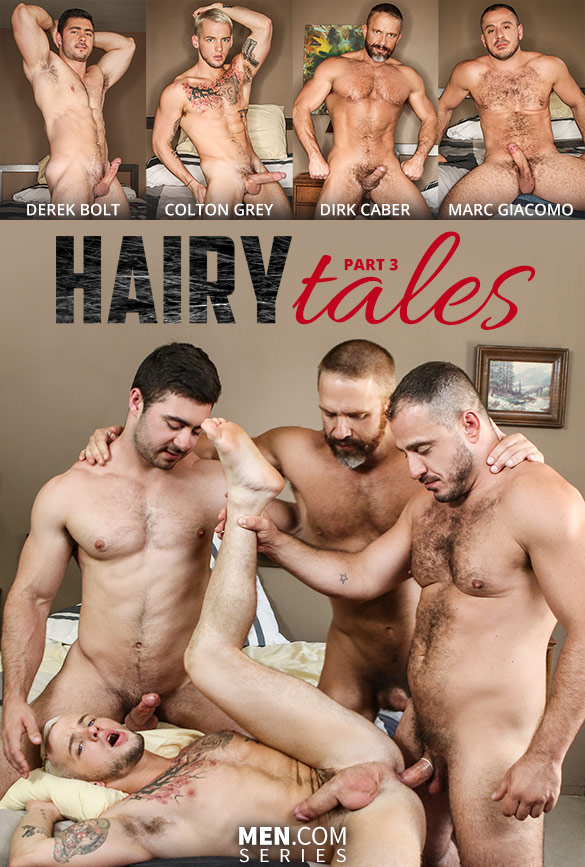 "Men.com: Colton Grey gets fucked by Derek Bolt, Dirk Caber and Marc Giacomo in ""Hairy Tales, Part 3: Bear to the Bone"""