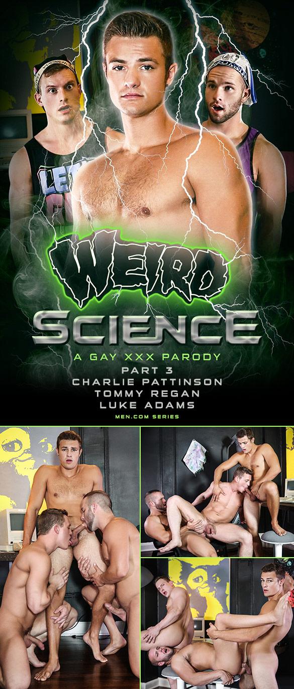 "Men.com: Charlie Pattinson, Luke Adams and Tommy Regan's hot threeway in ""Weird Science – A Gay XXX Parody, Part 3"""