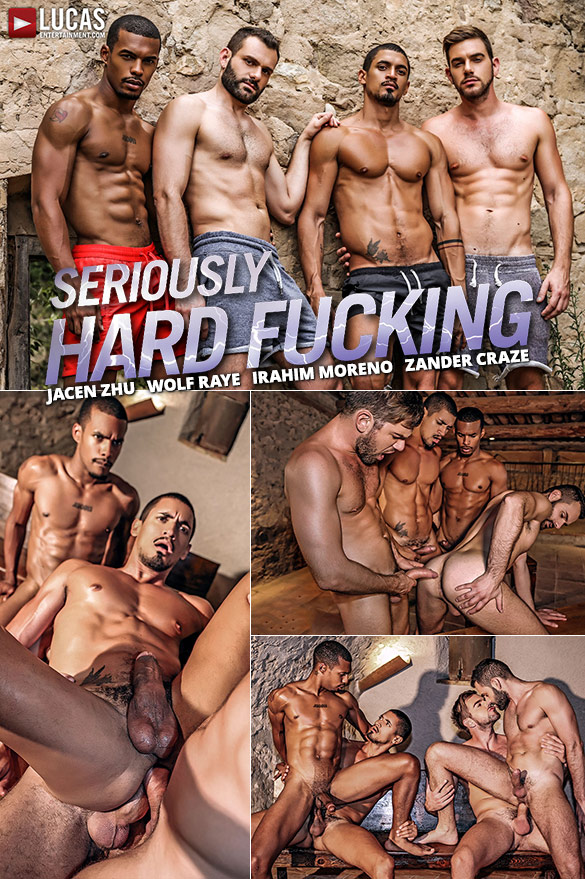 "Lucas Entertainment: Zander Craze, Jacen Zhu, Wolf Rayet and Ibrahim Moreno's bareback orgy in ""Seriously Hard Fucking"""