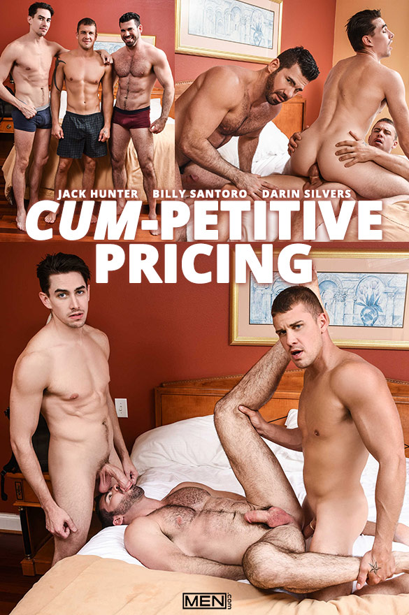 "Men.com: Darin Silvers bangs Billy Santoro and Jack Hunter in ""Cum-petitive Pricing"""