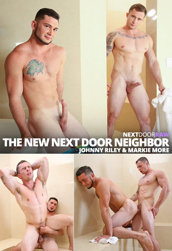 "Next Door Raw: Markie More and Johnny Riley flip fuck bareback in ""The Next Door Neighbor, Part 2"""