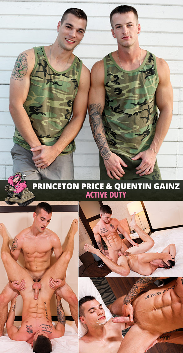 Active Duty: Princeton Price and Quentin Gainz flip fuck bareback