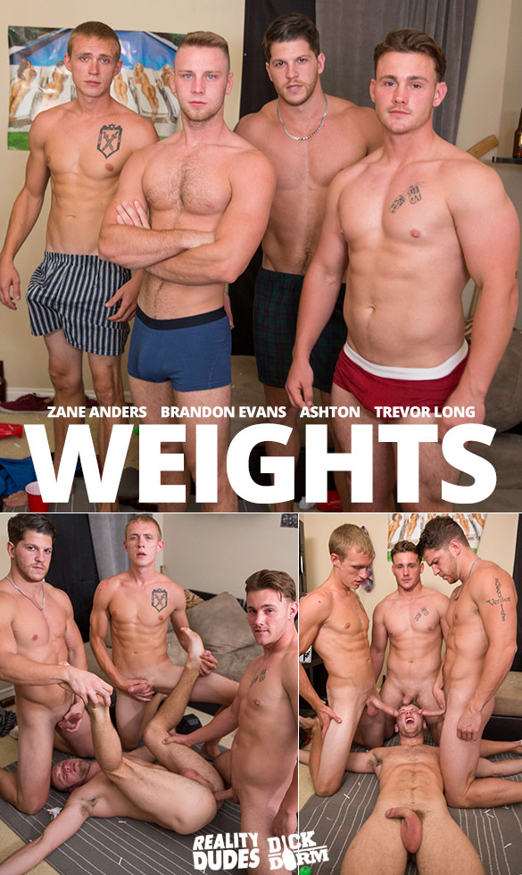 "Reality Dudes: Brandon Evans gets fucked raw by Trevor Long, Zane Anders and Ashton in ""Weights"""