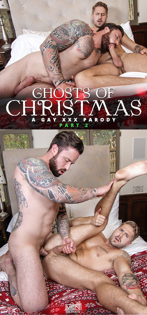 "Men.com: Jordan Levine pounds Wesley Woods in ""Ghosts of Christmas: A Gay XXX Parody, Part 2"""