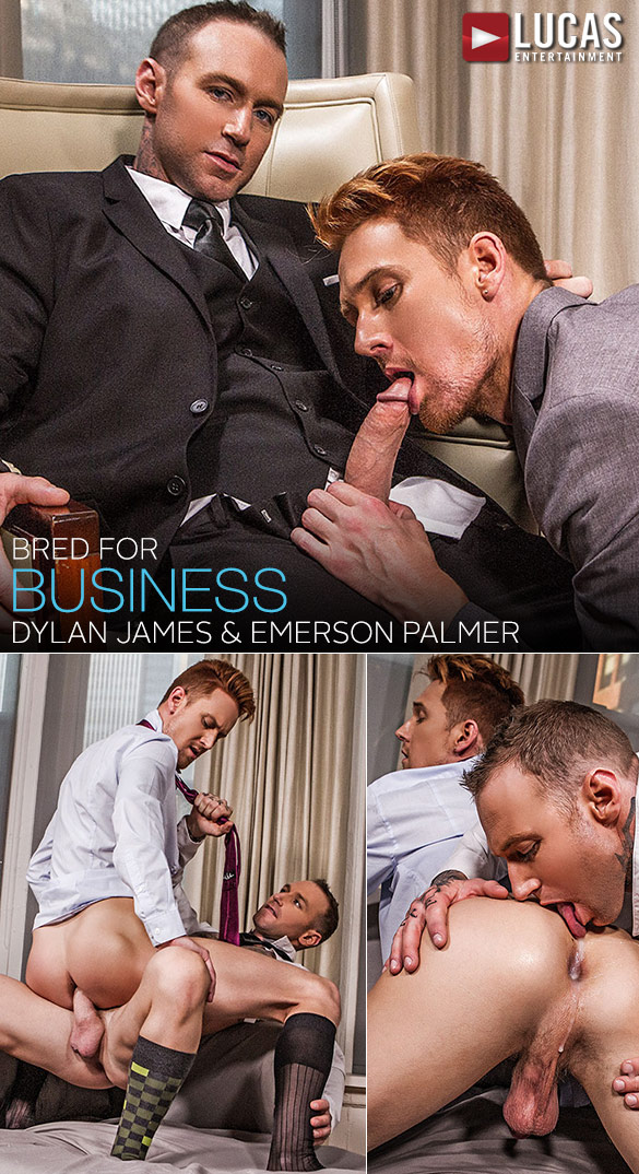 "Lucas Entertainment: Dylan James gives Emerson Palmer's ass professional training in ""Gentlemen 18: Bred for Business"""