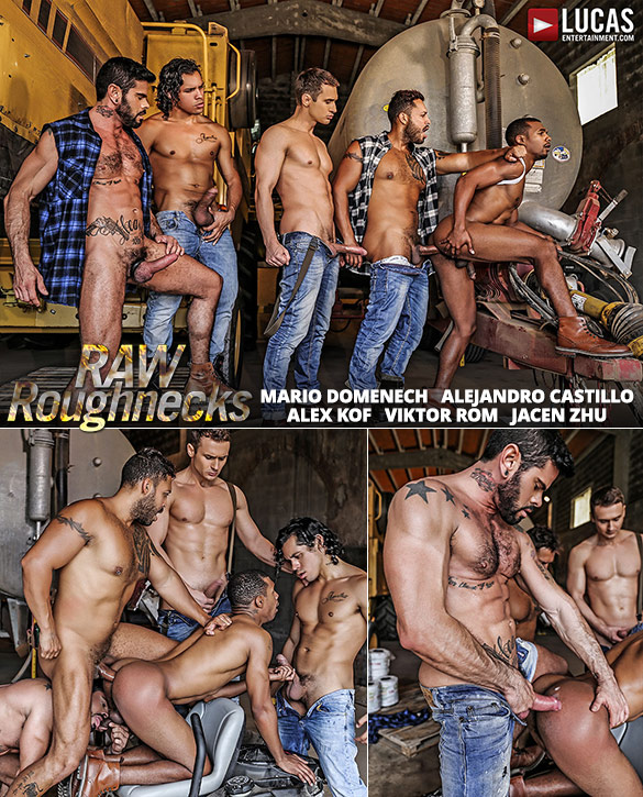 "Lucas Entertainment: Jacen Zhu gets pounded by Alejandro Castillo, Alex Kof, Mario Domenech and Viktor Rom in ""Raw Roughnecks"""