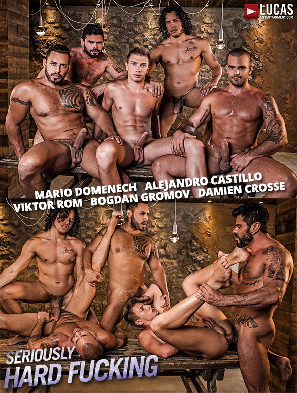 "Lucas Entertainment: Alejandro Castillo, Viktor Rom, Bogdan Gromov, Mario Domenech, And Damien Crosse's bareback orgy in ""Seriously Hard Fucking"""