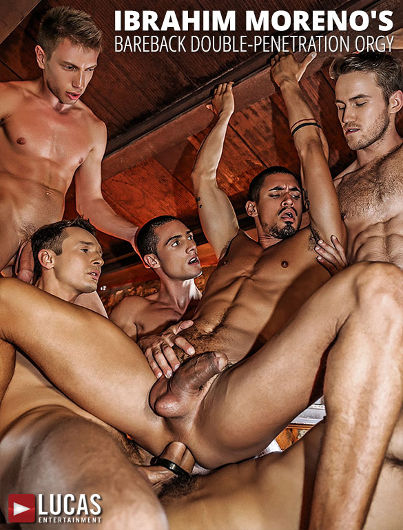 Lucas Entertainment: Ibrahim Moreno's bareback double-penetration orgy with Alejandro Castillo, Alex Kof, Bogdan Gromov, Javi Velaro and Marq Daniels