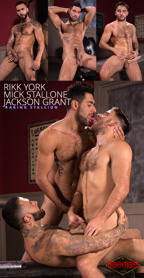 "Raging Stallion: Rikk York, Mick Stallone and Jackson Grant's threeway in ""High n' Tight"""