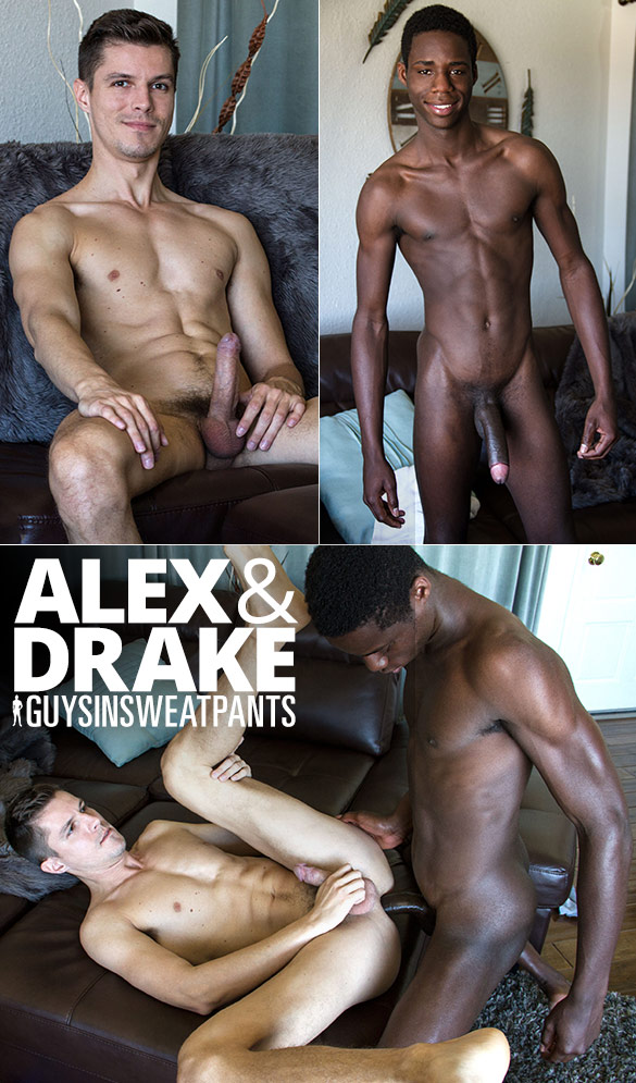 GuysInSweatpants: Alex takes Drake's big cock raw