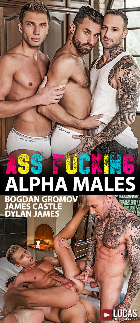 """Lucas Entertainment: Dylan James pounds Bogdan Gromov and James Castle raw in """"Ass Fucking Alpha Males"""""""