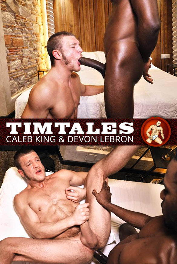 TimTales: Caleb King rides Devon Lebron's 10-inch cock bareback
