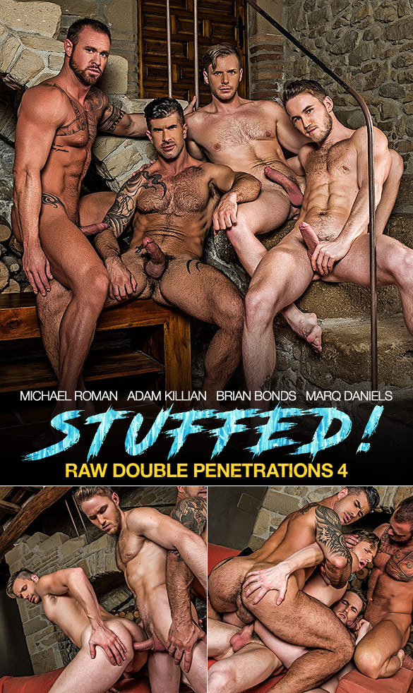 "Lucas Entertainment: Adam Killian, Marq Daniels, Brian Bonds and Michael Roman in ""Raw Double Penetrations 4: Stuffed"""