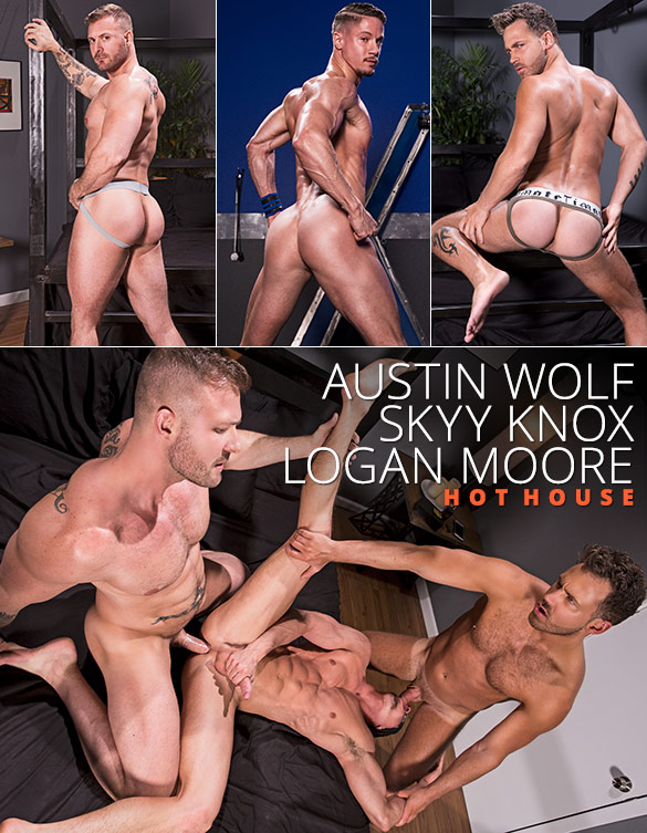 """HotHouse: Skyy Knox gets tag teamed by Austin Wolf and Logan Moore in """"Blindfolded"""""""