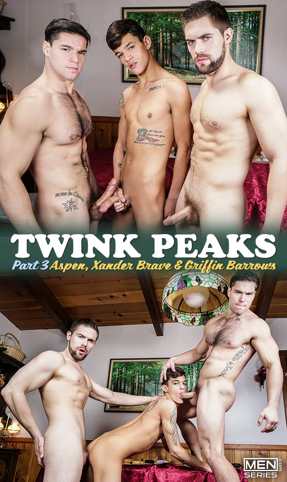 "Men.com: Griffin Barrows, Xander Brave and Aspen's threeway in ""Twink Peaks, Part 3"""