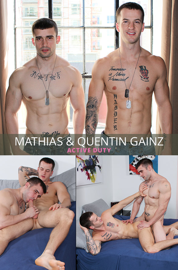 ActiveDuty: Mathias barebacks Quentin Gainz