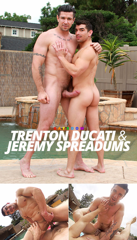 "GayRoom: Trenton Ducati pounds Jeremy Spreadums in ""Doing Daddy by the Pool"""