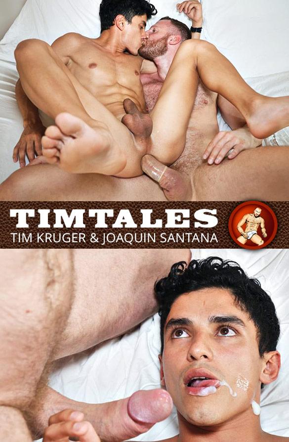 TimTales: Newcomer Joaquin Santana rides Tim Kruger's big cock