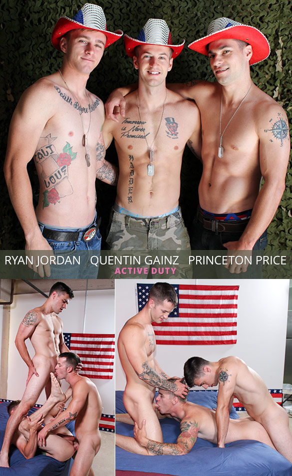 ActiveDuty: Quentin Gainz, Ryan Jordan and Princeton Price fuck each other bareback