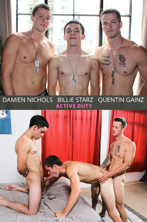 ActiveDuty: Damien Nichols gets his ass cherry popped in a hot bareback threeway with Quentin Gainz and Billie Starz