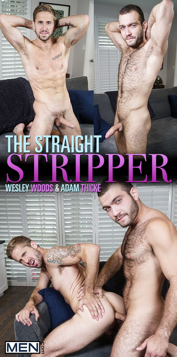 "Men.com: Adam Thicke fucks Wesley Woods in ""The Straight Stripper"""