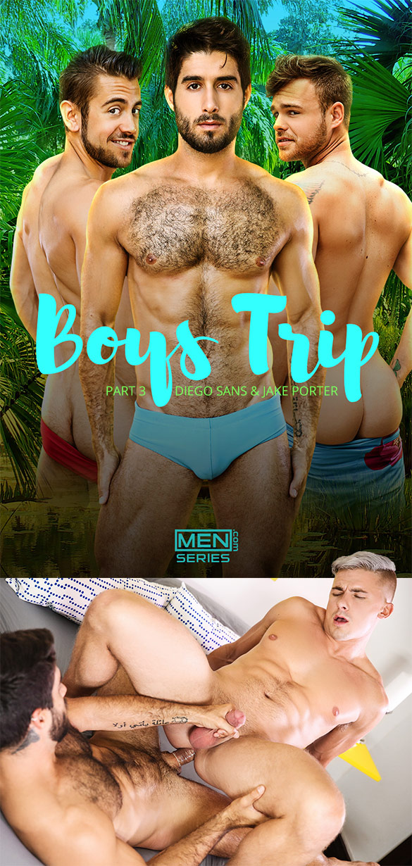 "Men.com: Diego Sans fucks Jake Porter in ""Boys Trip, Part 3"""