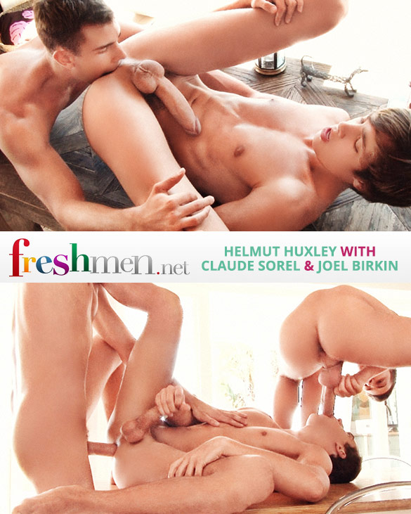 Freshmen.net: Helmut Huxley, Claude Sorel and Joel Birkin's raw threeway