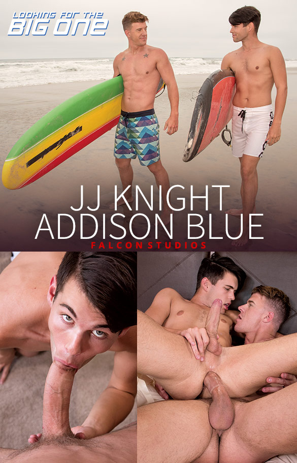 "Falcon Studios: Addison Blue rides JJ Knight's massive dick in ""Looking for the Big One"""