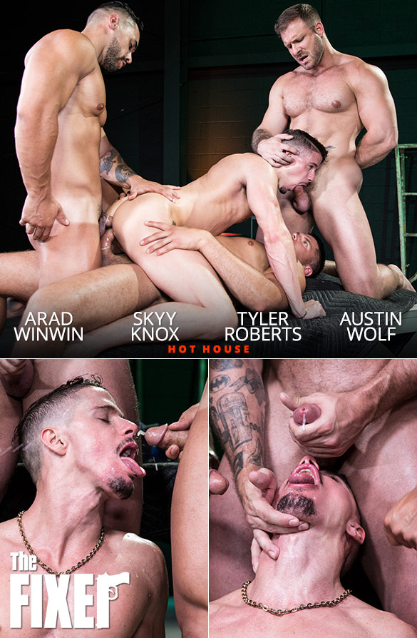 "HotHouse: Skyy Knox gets fucked hard by Austin Wolf, Arad Winwin and Tyler Roberts in ""The Fixer"""