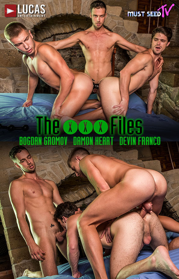 "Lucas Entertainment: Devin Franco, Damon Heart and Bogdan Gromov's raw threeway in ""Must Seed TV: The XXX Files"""