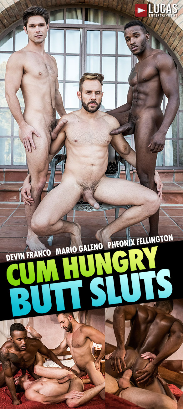 "Lucas Entertainment: Mario Galeno, Devin Franco and Pheonix Fellington's raw threeway fuck in ""Cum Hungry Butt Sluts"""