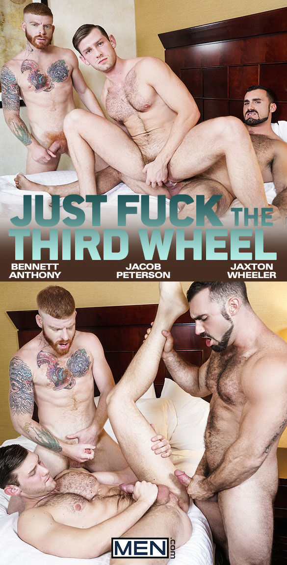 "Men.com: Bennett Anthony and Jaxton Wheeler tag team Jacob Peterson in ""Just Fuck the Third Wheel"""