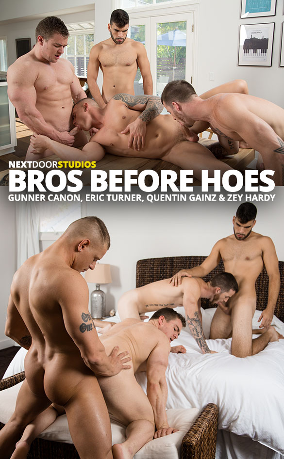 "Next Door Studios: Quentin Gainz, Gunner Canon, Zey Hardy and Eric Turner's raw foursome in ""Bros Before Hoes"""