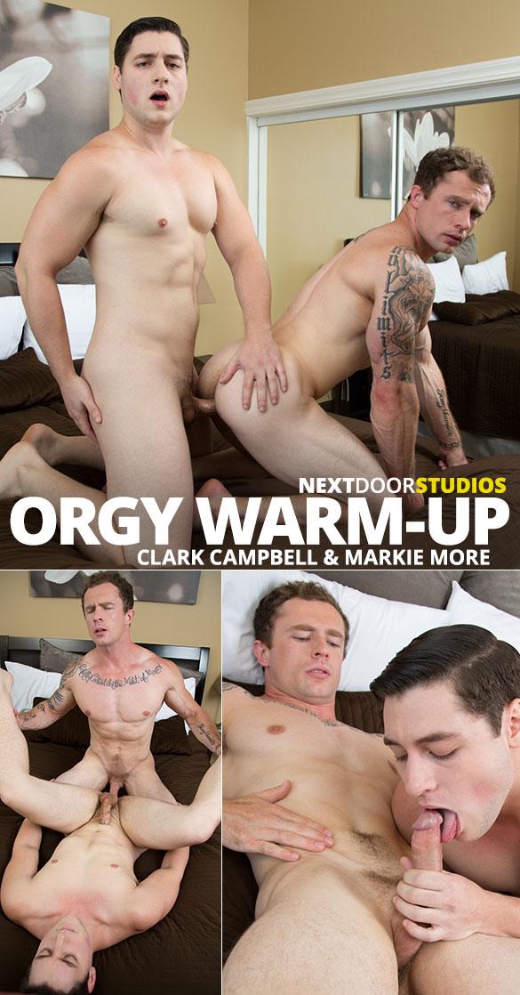 """Next Door Studios: Markie More and Clark Campbell flip fuck raw in """"Orgy Warm-Up"""""""