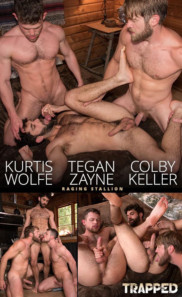 "Raging Stallion: Colby Keller fucks Kurtis Wolfe and Tegan Zayne in ""Trapped"""