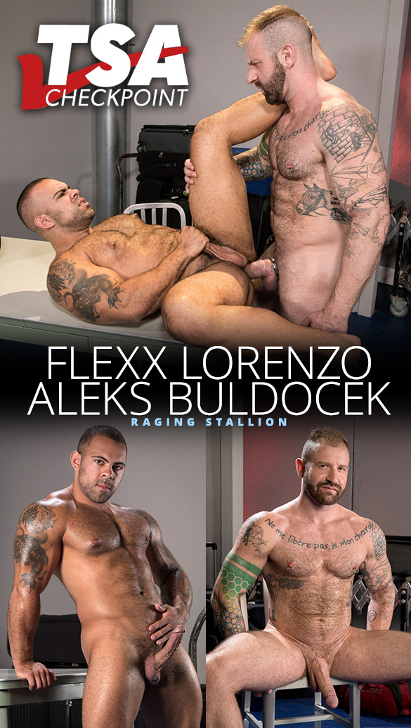 "Raging Stallion: Aleks Buldocek stretches Lorenzo Flexx's hole in ""TSA Checkpoint"""