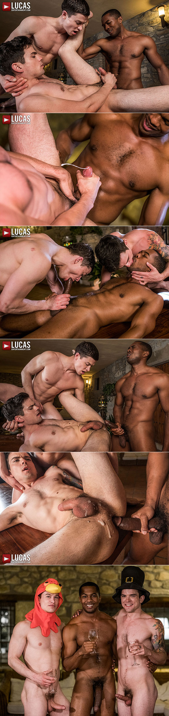 "Lucas Entertainment: Dakota Payne and Ruslan Angelo get stuffed with Sean Xavier's 10-inch cock in ""Bareback Thanksgiving"""