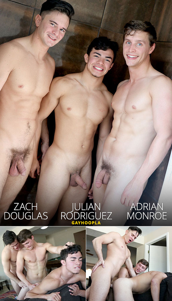 GayHoopla: Julian Rodriguez gets his ass cherry popped by Zach Douglas and Adrian Monroe