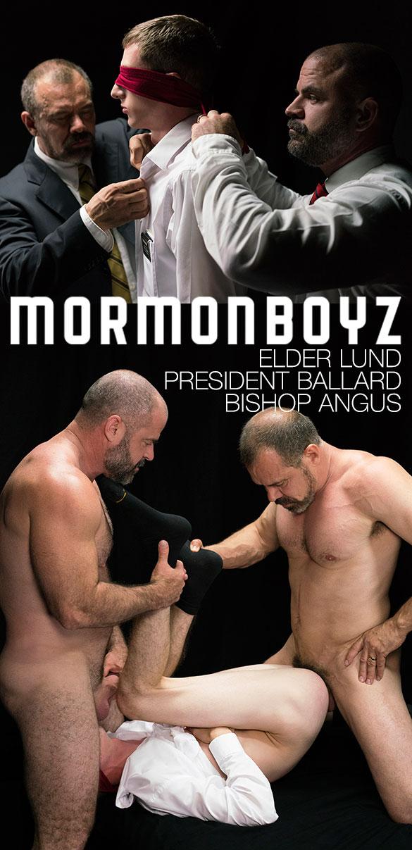 """MormonBoyz: President Ballard and Bishop Angus fuck Elder Lund raw in """"Atonement"""""""