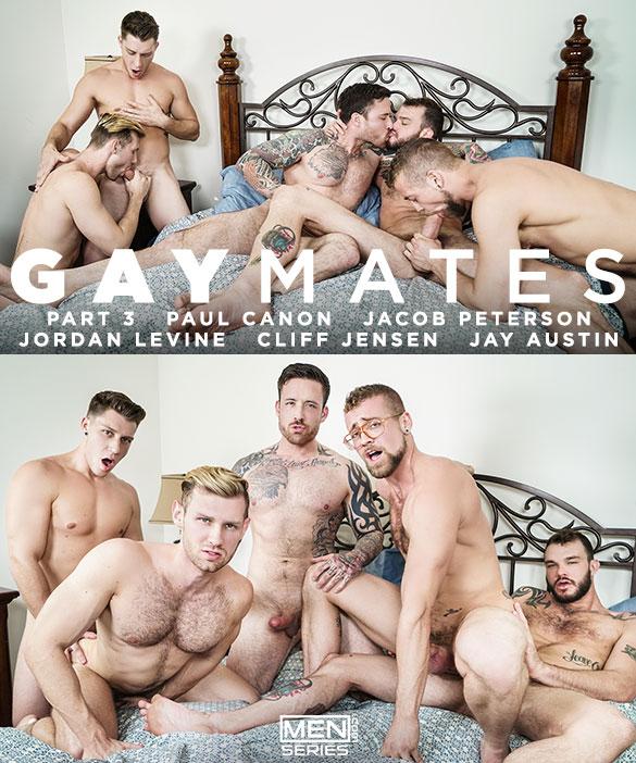 """Men.com: Cliff Jensen, Jordan Levine, Paul Canon, Jay Austin and Jacob Peterson in """"Gaymates, Part 3"""""""