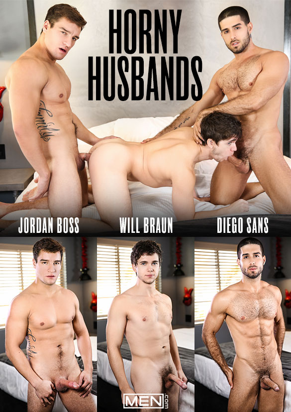 """Men.com: Diego Sans and Jordan Boss tag team Will Braun in """"Horny Husbands"""""""