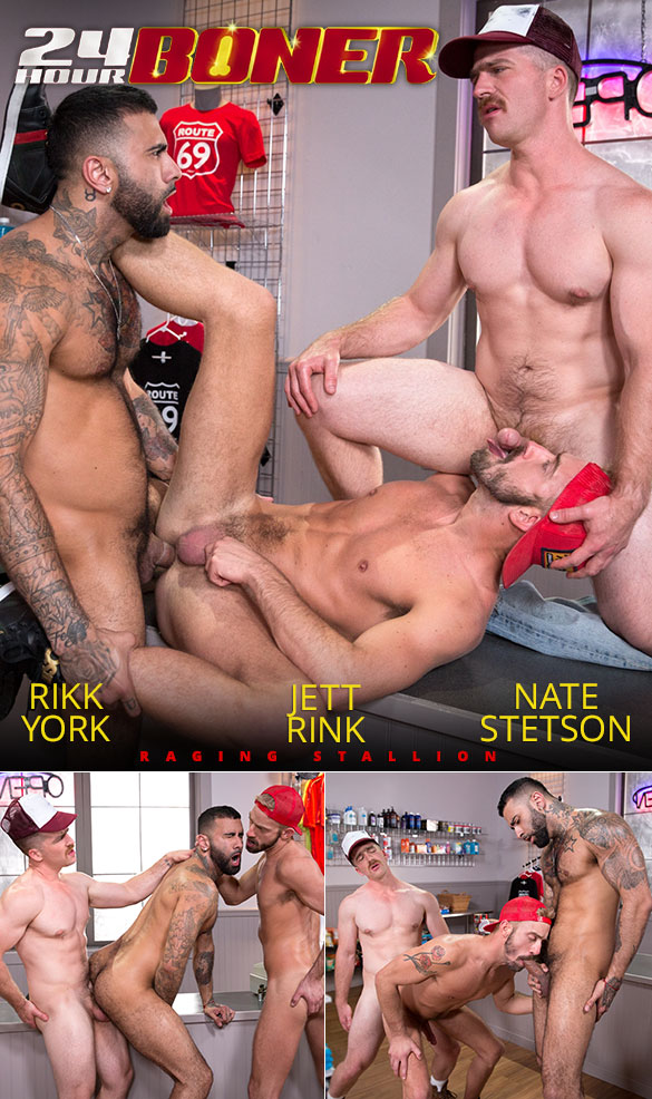 "Raging Stallion: Rikk York, Nate Stetson and Jett Rink's threeway fuck in ""24 Hour Boner"""