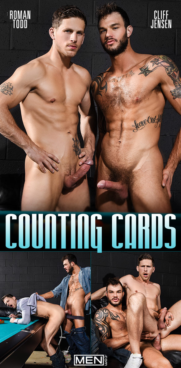"Men.com: Roman Todd rides Cliff Jensen's thick cock in ""Counting Cards"""