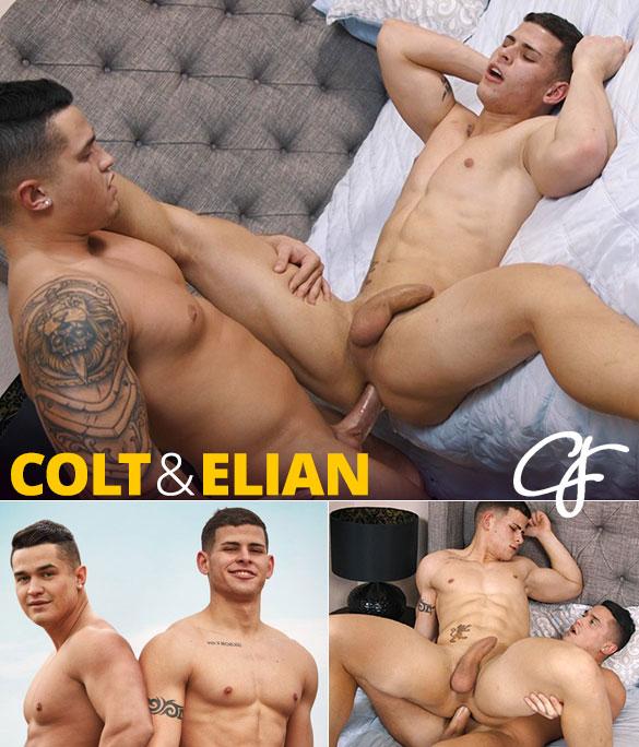 Corbin Fisher: Elian rides Colt's thick cock bareback