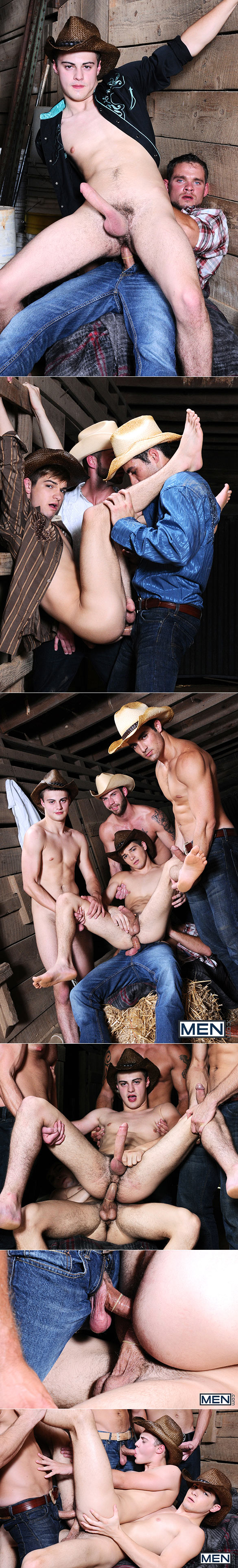 """Men.com: Johnny Rapid and Hunter Page get fucked by Jack King, Cooper Reed and Chris Bines in """"Going West, Part 3"""""""